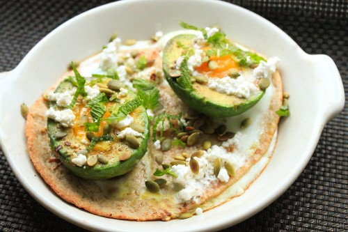 Baked Eggs in Avocado Cups With Feta and Mint Recipe