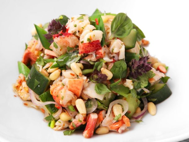 Thai-Style Lobster and Herb Salad with Snap Peas and Salted Cucumber Recipe
