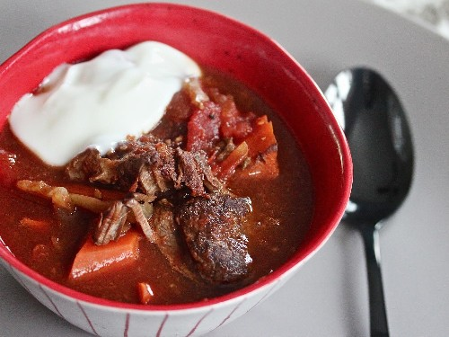 Slow-Cooker Harissa Beef Stew With Lemon Yogurt Recipe