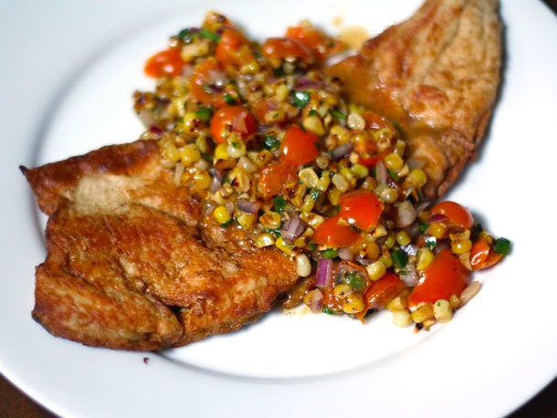 Crispy Fish with Charred Corn and Sun Gold Salsa Recipe