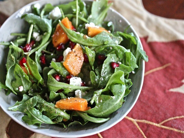 Persimmon and Arugula Salad With Pomegranate Seeds, Mint, and Feta Recipe