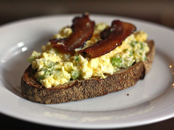 Open-Faced Egg Salad Sandwich With Bacon Recipe