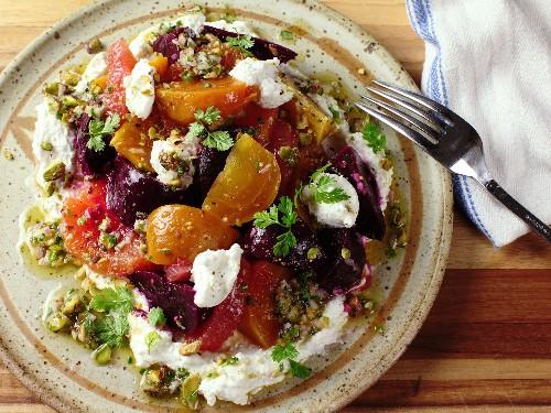 A Classic Combo: Beet Salad With Citrus, Ricotta, and Pistachio Vinaigrette