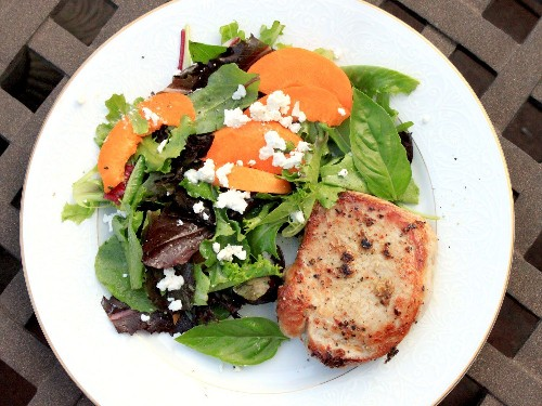 Gingery Pork Chops With Apricot and Feta Salad Recipe
