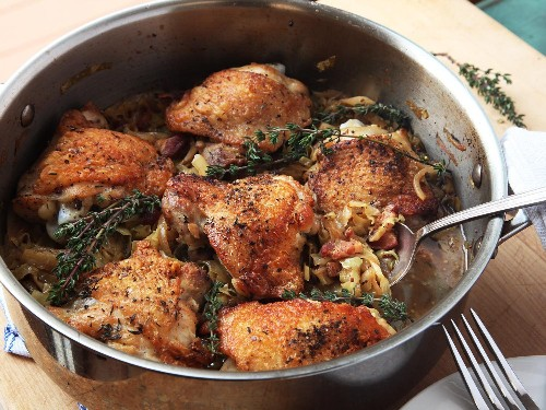 Crispy Braised Chicken Thighs With Cabbage and Bacon Recipe
