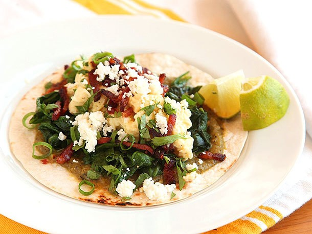 Breakfast Tacos With Eggs, Spinach, and Bacon Recipe
