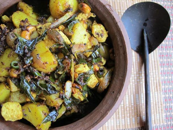 Chicken Dinners: Chicken, Potato, Cashew, Curry Leaf Stir-Fry