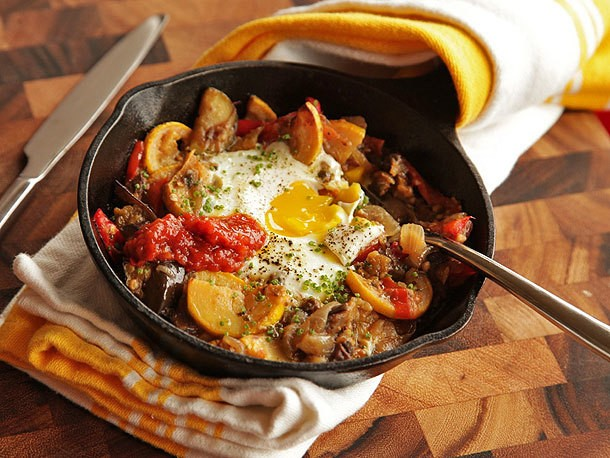 Eggplant, Squash, and Cherry Tomato Hash With Baked Eggs Recipe