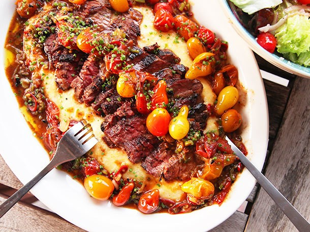 Seared Skirt Steak With Blistered Cherry Tomatoes and Polenta Recipe