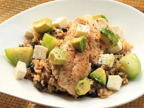 Snapper With Brown Rice, Avocado, and Cheese Recipe