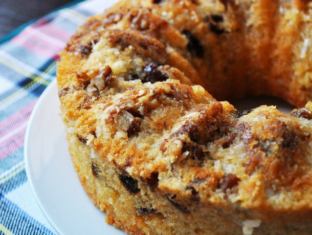 Date Rum Cake With Walnuts and Coconut Recipe