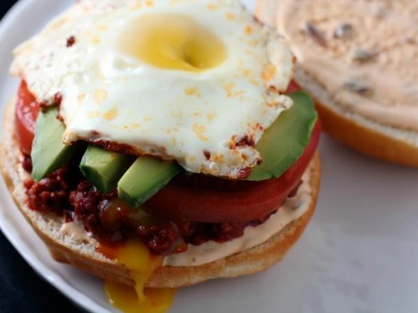Chorizo, Avocado, and Egg Cemitas with Chipotle Mayonnaise Recipe