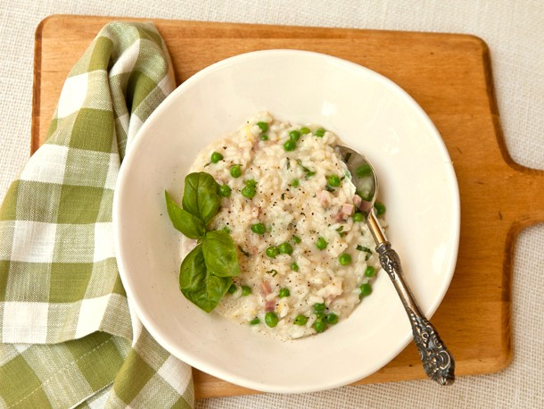 Risotto with Spring Peas, Ham, and Fontina Cheese Recipe