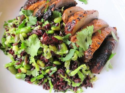 Miso-Charred Mushrooms and Black Rice Salad Recipe