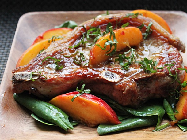 Pork Chops With Fresh Peaches and Basil Recipe