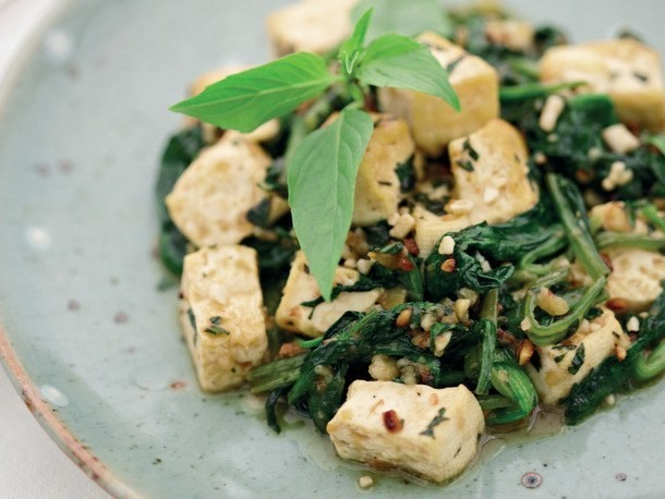 Spicy Thai Tofu With Spinach, Basil, and Peanuts From 'Everyday Thai Cooking'