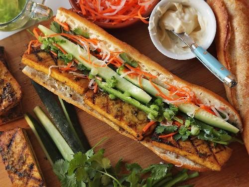 How to Make Lemongrass and Coriander-Marinated Grilled Tofu Vietnamese Sandwiches (Vegan Banh Mi)
