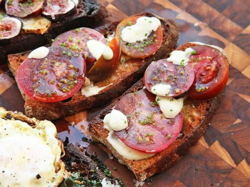 Tomato, Allioli, and Chive Tartine Recipe