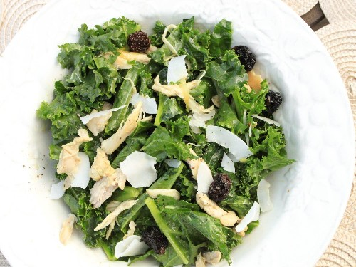 Warm Kale and Curried Chicken Salad With Toasted Coconut and Dried Cherries Recipe