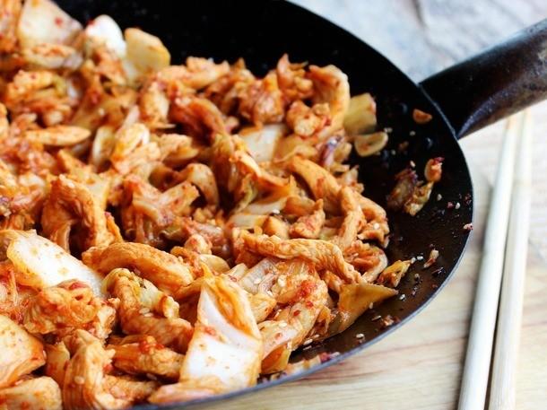 Chicken Dinners: Kimchi Chicken and Cabbage Stir Fry