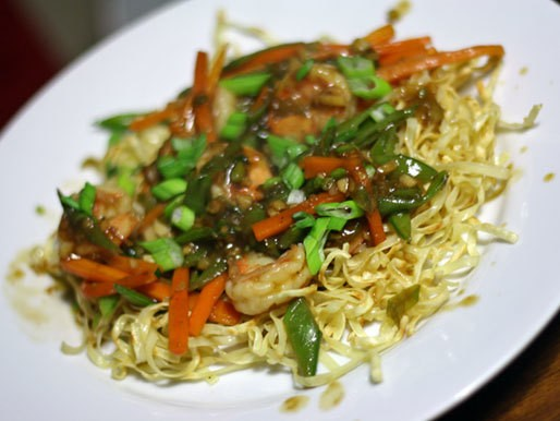 Dinner Tonight: Pan-Fried Noodles with Shrimp, Snap Pea, and Carrot