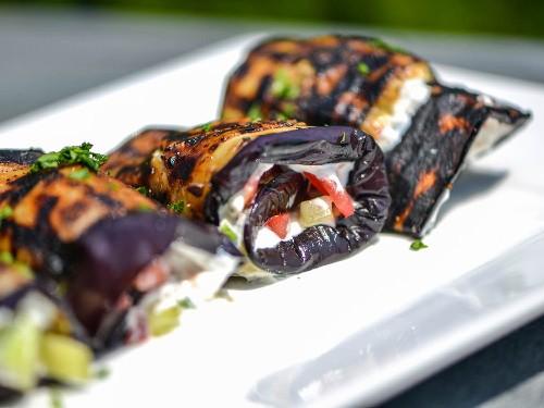 Eggplant Spirals With Greek Yogurt, Tomatoes, and Cucumber Recipe
