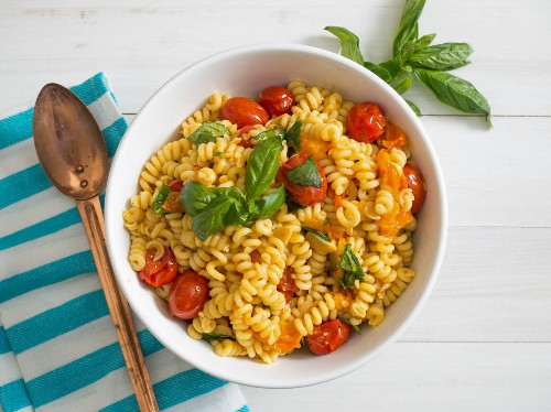 Blistered-Tomato Pasta Salad With Basil Recipe
