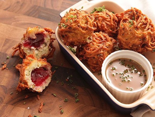 Latke-Crusted Turkey Stuffing Fritters With Liquid Cranberry Core and Schmaltz Gravy Recipe