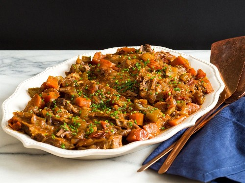Jewish-Style Braised Brisket With Onions and Carrots Recipe