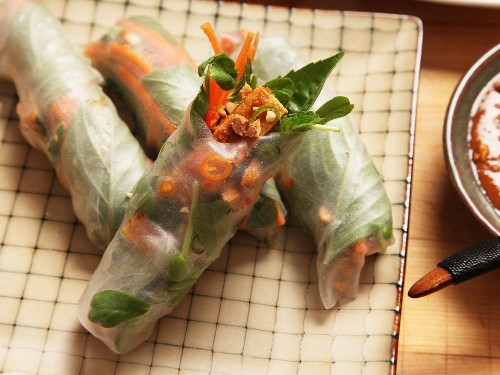 Easy Vegan Crispy Tofu Spring Rolls With Peanut-Tamarind Dipping Sauce Recipe