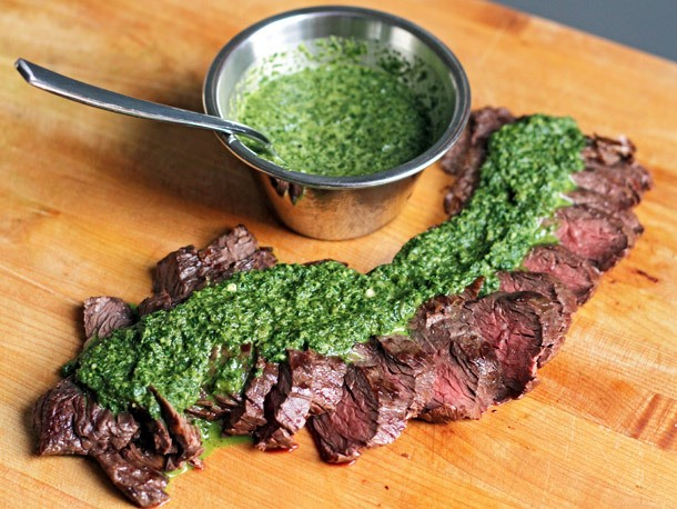 Ted Allen's Grilled Steak with Roasted Jalapeño Chimichurri Recipe