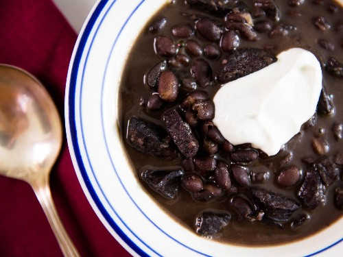 Pressure Cooker Black Bean Soup With Sausage and Cumin-Lime Sour Cream Recipe