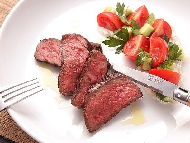 Grilled Strip Steak With Creamy Yogurt Sauce and Tomato-Cucumber Salad Recipe