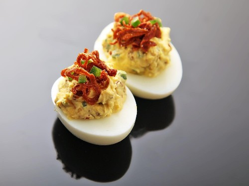 Deviled Eggs With Crispy Shallots and Chilies Recipe