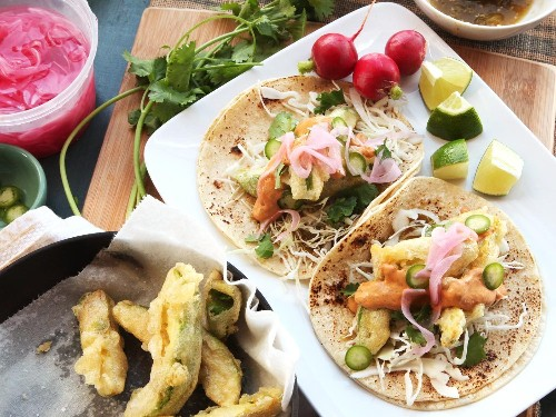 Fried-Avocado Tacos With Chipotle Cream, Cabbage, and Pickled Red Onions Recipe