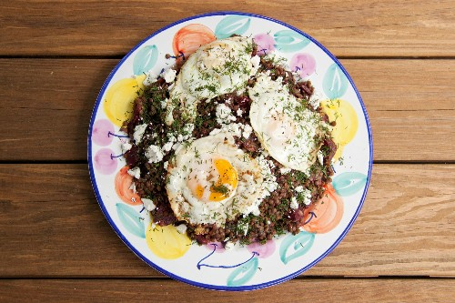 Vegetarian: Beet and Lentil Salad with Feta and Fried Eggs