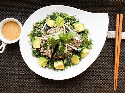 Cold Soba Noodles With Kale, Avocado, and Miso-Sesame Dressing Recipe