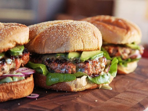 Easy Salmon Burgers With Dill Honey-Mustard, Horseradish, and Avocado Recipe