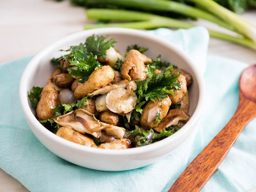 Roasted Potato and Shallot Salad With Marinated Mushrooms and Kale Recipe