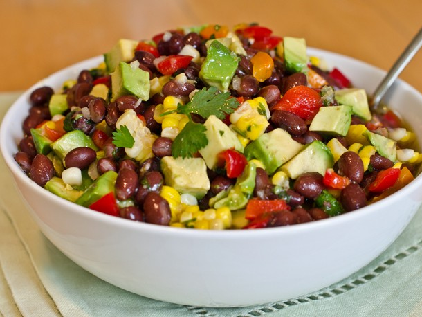 Black Bean, Corn, and Red Pepper Salad with Lime Cilantro Vinaigrette