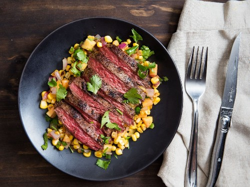 Skirt Steak With Warm Spicy Corn-and-Peach Salsa Recipe