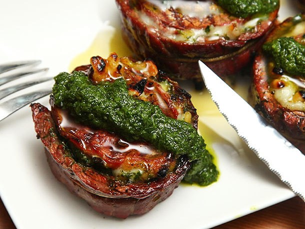 Grilled Stuffed Flank Steak With Pesto, Mozzarella, and Prosciutto Recipe