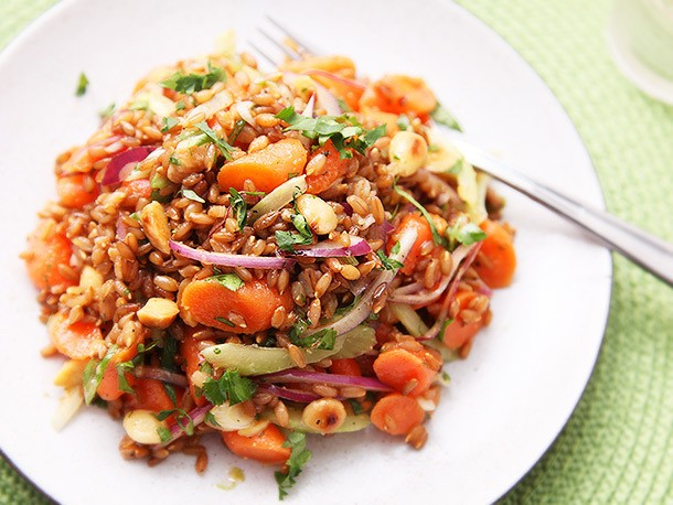 Carrot and Rye Berry Salad With Celery, Cilantro, and Marcona Almonds Recipe