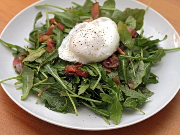 Michael Ruhlman's Warm Arugula Salad with Bacon and Poached Eggs Recipe