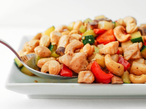 Cashew Chicken Ding With Jicama, Celery, and Red Bell Pepper Recipe