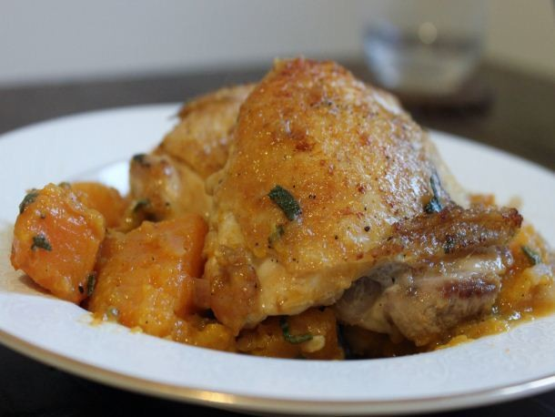 Pan-Cooked Chicken Thighs with Butternut Squash Recipe
