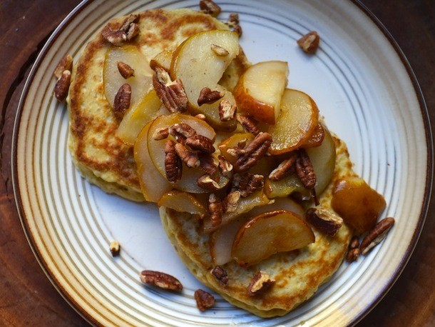 Oatmeal Pancakes With Pears and Pecans Recipe
