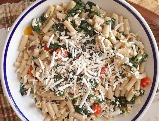 Gluten-Free Pasta with Ricotta Salata, Garlicky Spinach, Tomatoes, and Olives Recipe