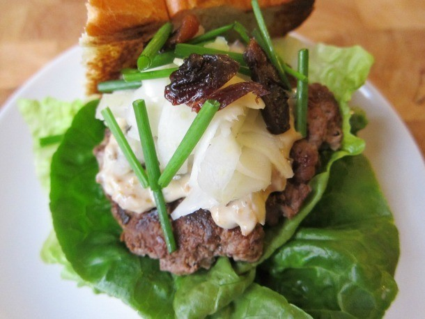 Duck Burgers With Pickled Fennel and Prune Mayonnaise Recipe