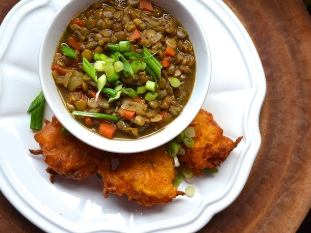 Sunday Brunch: Curried Lentils With Savory Sweet Potato Fritters